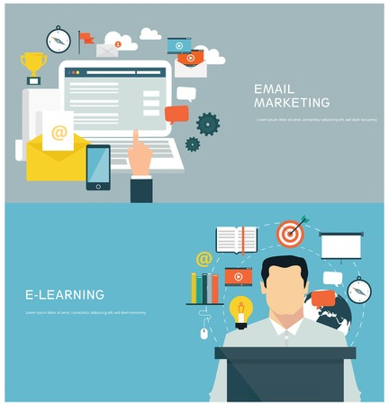 elearning: Concepts for web banners and promotions. Flat design concepts for email marketing and elearning Illustration