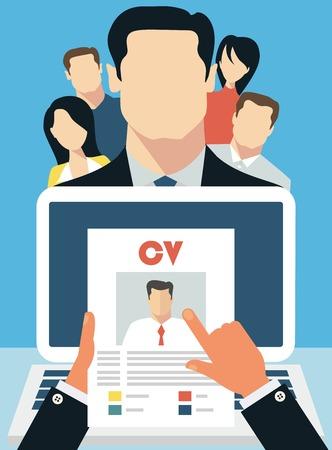 evaluacion: Concepto de trabajo con el curriculum vitae cv negocio