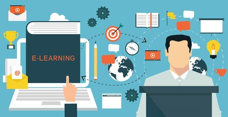 computer training: Elearning online education concept