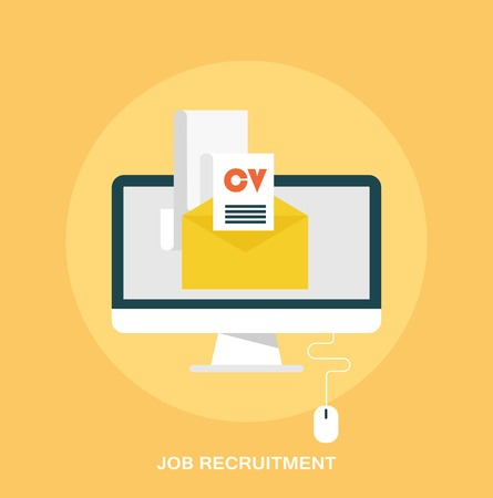 job recruitment: Job recruitment emailing job resume concept flat styled icon