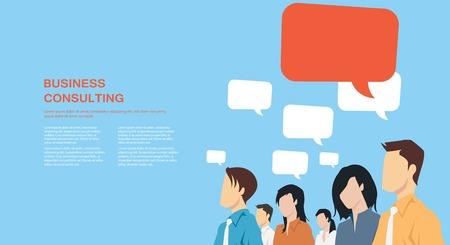 Grupp av affärsmän med pratbubblor kommunicerar
