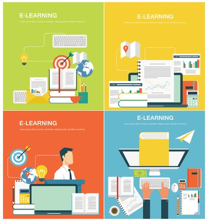 vector studies: Concepts for web banners and promotions. Flat design concepts for elearning Illustration