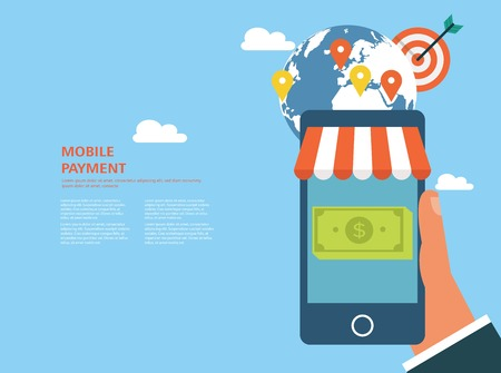 Flat design concept for mobile payment and ecommerce Illustration