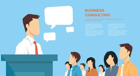 Business presentation giving a speech concept leadership in business