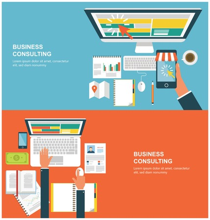 Concepts for web banners and promotions. Flat design concepts for business consulting Vectores