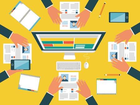 Web バナー広告やプロモーションのための概念。フラット デザインのコンセプトの求人募集
