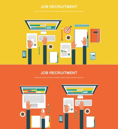 job recruitment: Concepts for web banners and promotions. Flat design concepts for job recruitment Illustration