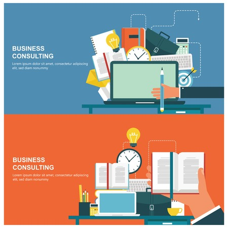 consulting concept: Concepts for web banners and promotions. Flat design concepts for business consulting Illustration