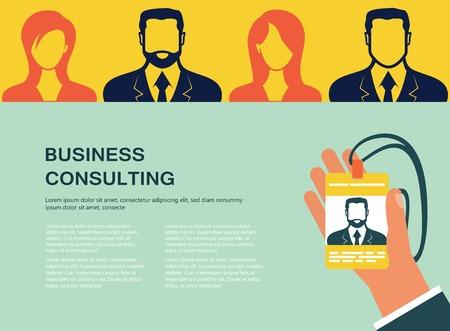 Concept voor webbanners en promoties. Platte ontwerpconcept voor zakelijke raadpleging Stock Illustratie