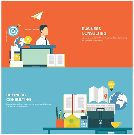 consulting business: Concepts for web banners and promotions. Flat design concepts for business consulting Illustration