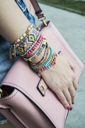 bead jewelry: Stylish bracelets on female hand