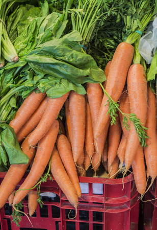 stall: Carrot on market stall Stock Photo