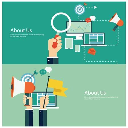 Conceitos para web banners e promoções. conceitos de design planos para a comercialização e promoção digitais