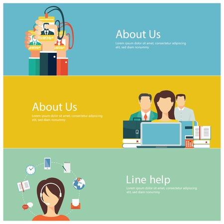 gestion empresarial: Conceptos para web banners y promociones. Dise�o plano conceptos de negocio
