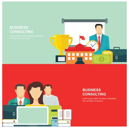business concepts: Concepts for web banners and promotions. Flat design concepts for business consulting Illustration