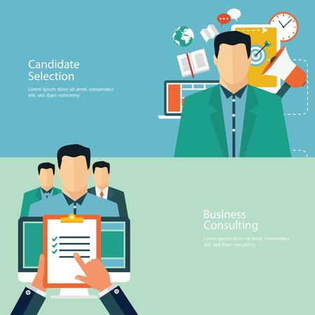 candidate: Concepts for web banners and promotions. Flat design concepts for promotion and candidate evaluation