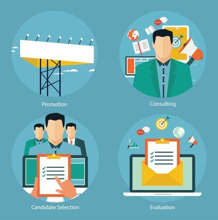 evaluacion: Conceptos para web banners y promociones. Conceptos de diseño plano para la promoción, evaluación de candidatos y marketing por correo electrónico