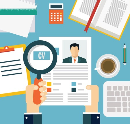 job evaluation: Job interview concept with business cv resume