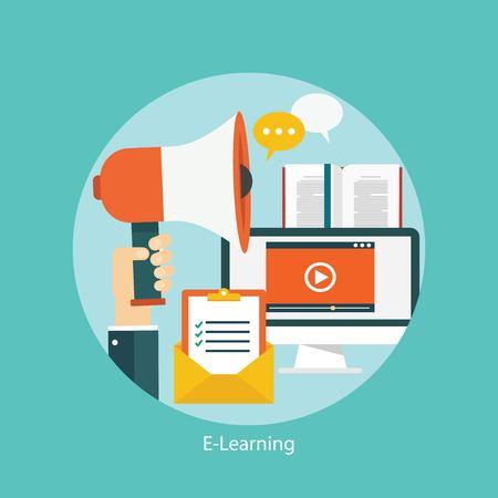 tecnolog�a informatica: E-learning, el concepto de educaci�n en l�nea, icono plana estilo Vectores