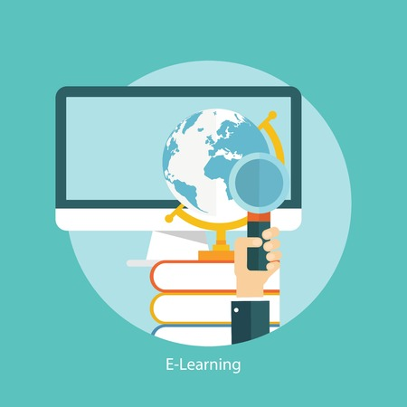 magnifying: E-learning, online education concept, flat styled icon Illustration