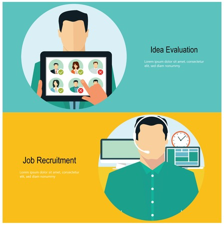 Concept for web banners and promotions. Flat design concept for job recruitment Illustration