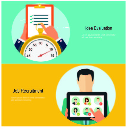 evaluate: Concepts for web banners and promotions. Flat design concepts for job recruitment Illustration