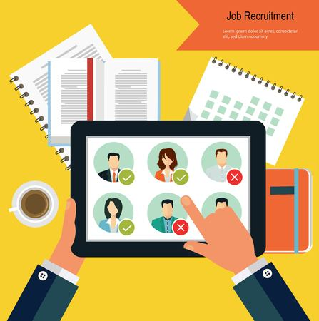Job candidate selection process Vectores