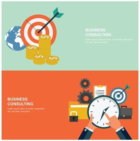 Concepten voor web-banners en promoties. financiële begrippen plat ontwerp Stock Illustratie