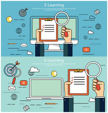 online survey: E-learning, online education concept