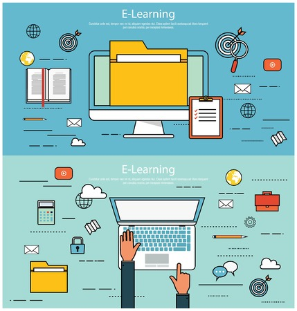 magnyfying glass: E-learning, online education concept