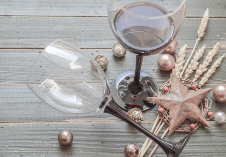 wine background: Wine glasses on a wooden background