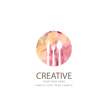 포크, 숟가락 및 칼로 창조적 인 대중 음식점 디자인 일러스트