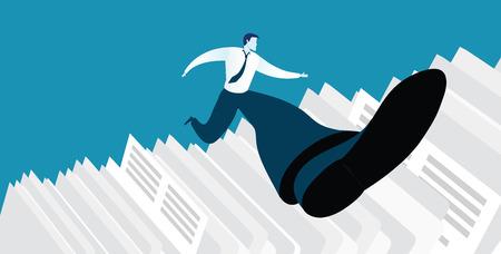 overcoming: Businessman successful in overcoming paperwork challenge Illustration
