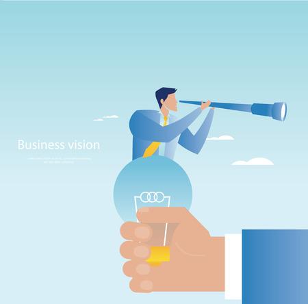 spyglass: Creative business concept. Businessman holding spyglass