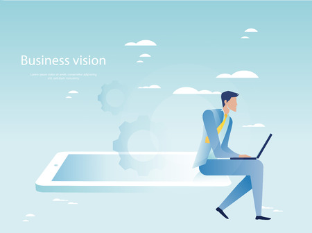 synchronizing: Cloud networking concept. Businessman working on laptop Illustration