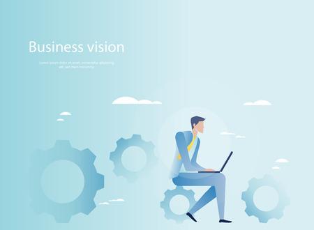 business work: Business mechanism in motion. Businessman at work Illustration