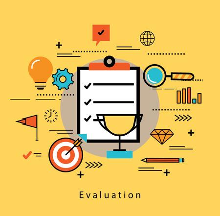 Linie flache Business-Design und Infografik-Elemente für die Bewertung und Auswertung von Kundendienst, Zufriedenheit Feedback und Überprüfung, Leistungsbewertung, Qualitätskontrolle und Erfolg im Business-Konzept
