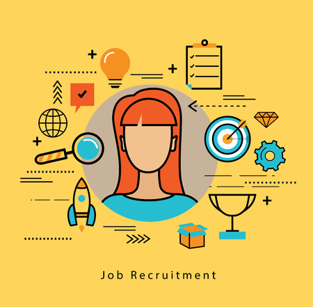 recruiting: Line flat business design and infographic elements for job candidate evaluation and interview, assessment and recruiting, resources management and hiring, career and employment concept
