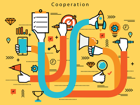 cooperating: Line flat business design and infographic elements with human hands cooperating in corporate business, teamwork, management, brainstorming, planning, organization and implementation concept Illustration