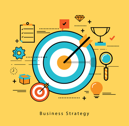 marketing strategy: Line flat business design and infographic elements for market data analytics, strategic and investment management, consulting, advertising and promoting, business and marketing strategy
