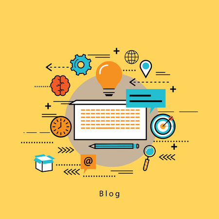 Line flat business design and infographic elements for blogging and creative writing, jobs in freelancing, article writing, content marketing and copywriting, e-business, e-learning and tutoring
