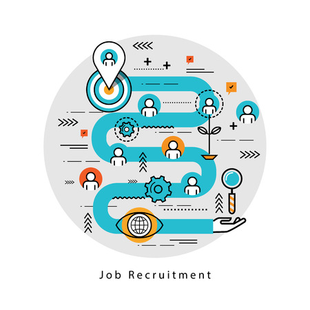 career management: Line flat business design and infographic elements for job candidate evaluation and interview, assessment and recruiting, resources management and hiring, career and employment concept