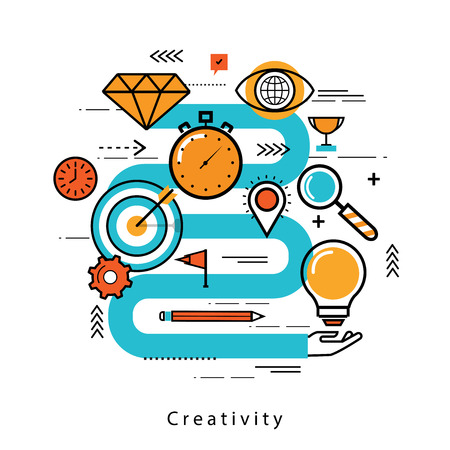 Line flat business design and infographic elements for product development, goal setting and evaluation, objectives management, brainstorming and research, strategic planning, idea analysis and review