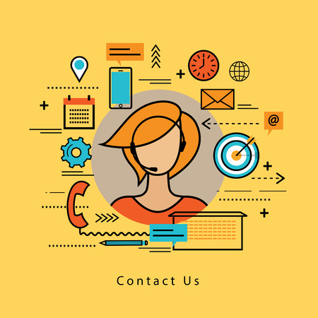 business help: Line flat business design and infographic elements for online customer support, customer care service and assistance, call center concept, line help, consulting, client feedback, telephone marketing Illustration