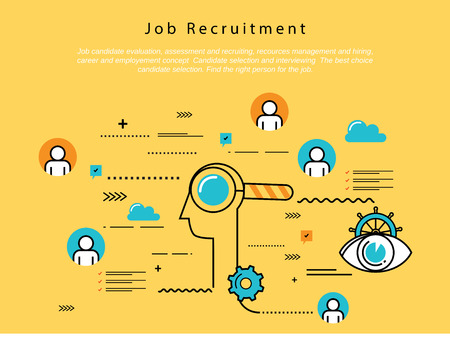Line flat vector business design and infographic elements for job candidate evaluation, interviewing, assessment, recruiting, resources and corporate management, hiring, employment, career concept.
