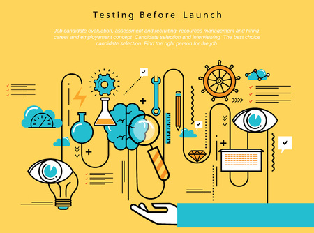 prototyping: Line flat vector business design and infographic elements for website design process, application development, analysis, concept and strategy, designing and testing, optimization and launching.