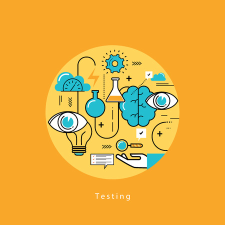 Line flat vector business design and infographic elements for website design process, application development, analysis, concept and strategy, designing and testing, optimization and launching.