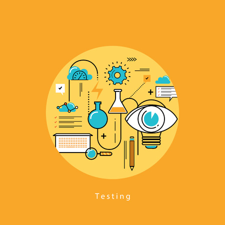 designing: Line flat vector business design and infographic elements for website design process, application development, analysis, concept and strategy, designing and testing, optimization and launching.