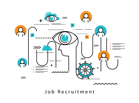 career management: Line flat vector business design and infographic elements for job candidate evaluation, interviewing, assessment, recruiting, resources and corporate management, hiring, employment, career concept.