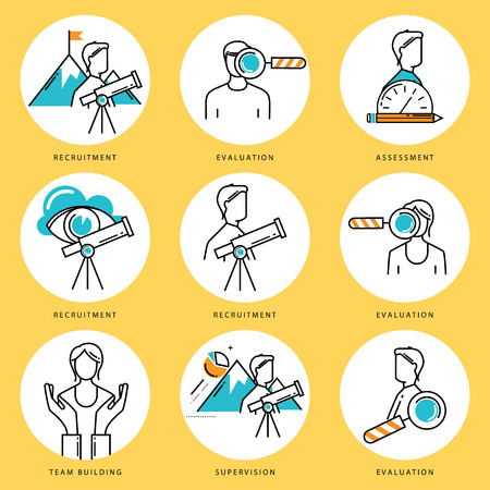 corporate team: Stroke line icons set for job recruitment and evaluation. Corporate management flat linear pictogram pack. Team building and assessment outline symbol collection and infographic elements vector design